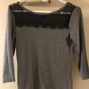 Half sleeve gray lace express sweater